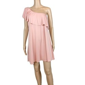Dresses & Skirts - One shoulder baby pink ruffle dress